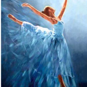 Набор алмазной вышивки Wizardi Балерина в голубом / WD2343