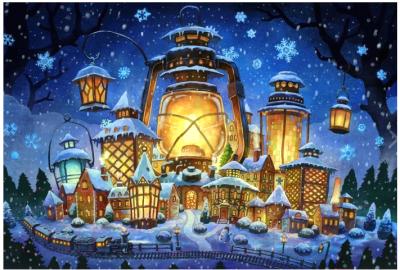 Набор алмазной вышивки Wizardi Новогодние огни / WD2387