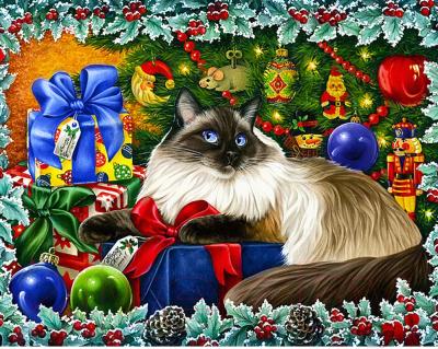 Набор алмазной вышивки Wizardi Рождественские цвета / WD2422