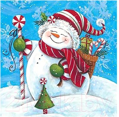 Набор алмазной вышивки Wizardi Снеговик с подарками / WD2444