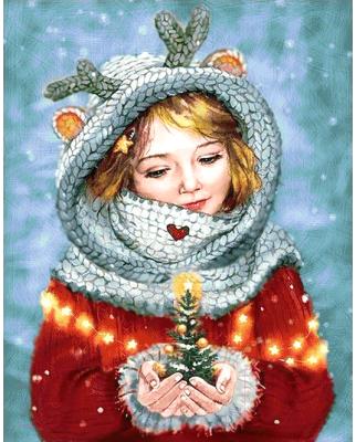 Набор алмазной вышивки Wizardi Зимняя красавица / WD2446