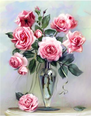 Набор алмазной вышивки Wizardi Розы на мраморном столике / WD2454