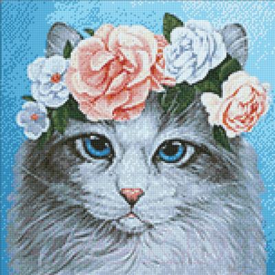 Набор алмазной вышивки Wizardi Голубоглазый кот в цветах / WD2464
