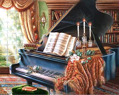 Набор алмазной вышивки Wizardi Старый рояль / WD253